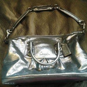 Coach silver shimmer satin purse